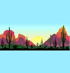 Stony desert with cacti vector