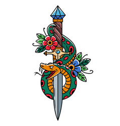 Tattoo dagger with snake and flower old school vector