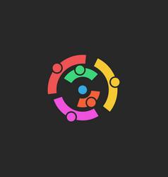 teamwork logo abstract asymmetric silhouettes of vector image