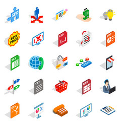 Technology guide icons set isometric style vector