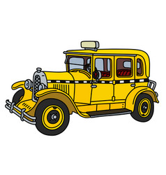 the vintage yellow taxi vector image
