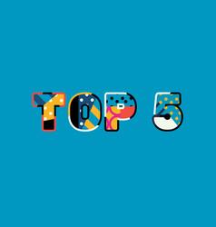 top 5 concept word art vector image