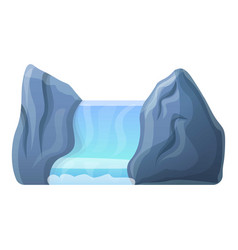 Tropical waterfall icon cartoon style vector