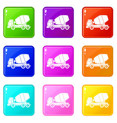Truck concrete mixer set 9 vector