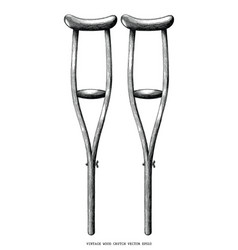 vintage wood crutch hand draw clip art isolated vector image