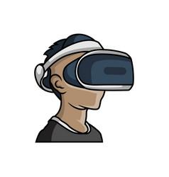 virtual reality game logo design vector image