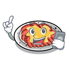 With phone carpaccio is served on cartoon plates vector