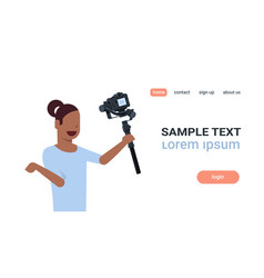 woman blogger broadcasting live stream report vector image