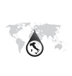 World map with zoom on italy map in loupe in flat vector