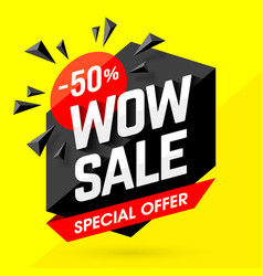 Wow sale special offer banner vector