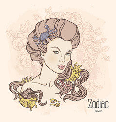 zodiac of cancer as girl with vector image