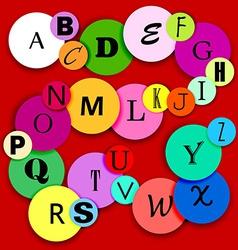 Fun alphabat on multicolor circles-2 vector image vector image