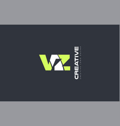 green letter vz v z combination logo icon company vector image vector image