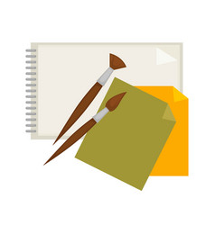 supplies for painting and paper isolated cartoon vector image vector image