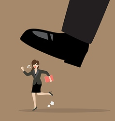 Business woman run away from stomping foot vector image