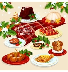 Christmas food icon with meat fish pastry dishes vector image vector image
