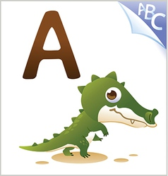 Animal alphabet for the kids A for the Alligator vector image