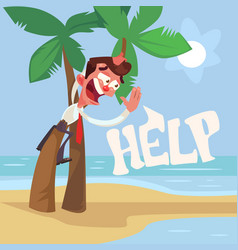 businessman character lost desert island vector image vector image