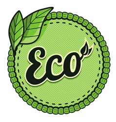 ecology label - eco sign and text on round vector image