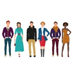 Handsome young guys with beautiful girls models vector image