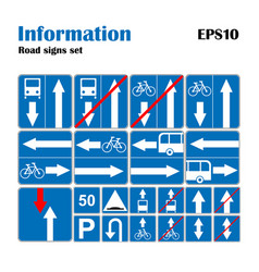 Informational road blue symbols set vector
