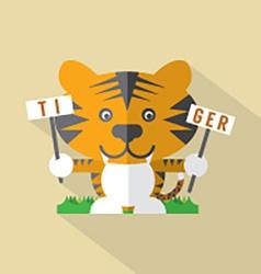 Modern Flat Design Tiger Icon vector image vector image