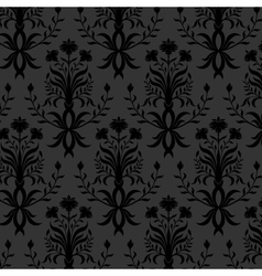 Seamless black floral wallpaper vector image vector image