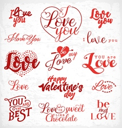 Valentines Day Red Typography Design Elements vector image