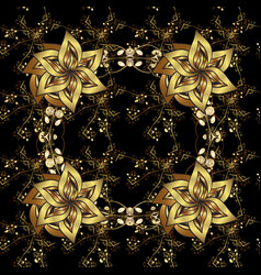 golden pattern on black colors symbol of winter vector image