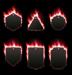 set of six frames surrounded with red lame vector image vector image