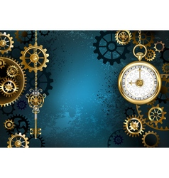 Turquoise Background with Gears vector image vector image