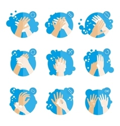Washing hands properly - medical instructions for vector image vector image
