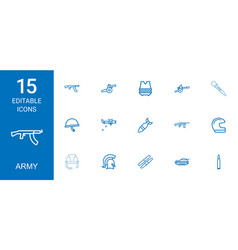 15 army icons vector