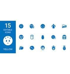 15 yellow icons vector