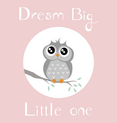 A baby owl with babypink background vector