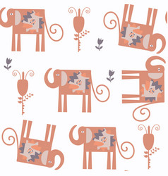 abstract elephants nature fauna seamless pattern vector image