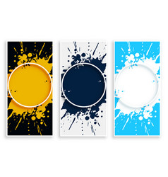Abstract ink splash banner in different colors vector