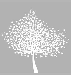 Abstract white tree with heart shape leaves vector