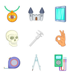 Ancient artifact icons set cartoon style vector