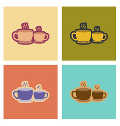 Assembly flat icons cups hot coffee vector