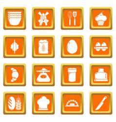 Bakery icons set orange square vector