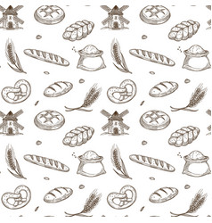 bakery products old mill and fresh spikes inside vector image