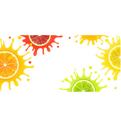 Banner with citrus fruits and splash juice vector
