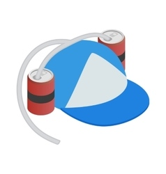 Baseball cap and two aluminum cans with straw vector image