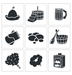 Bath Accessories Icons Set vector image