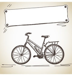 bicycle with banner vector image vector image
