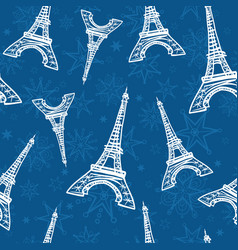 blue eifel towers seamless repeat pattern vector image