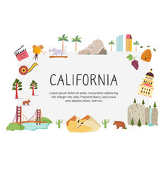 bright design with famous places california vector image