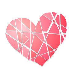 broken heart single color icon isolated on white vector image