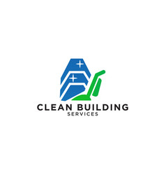building cleaning service logo design template vector image